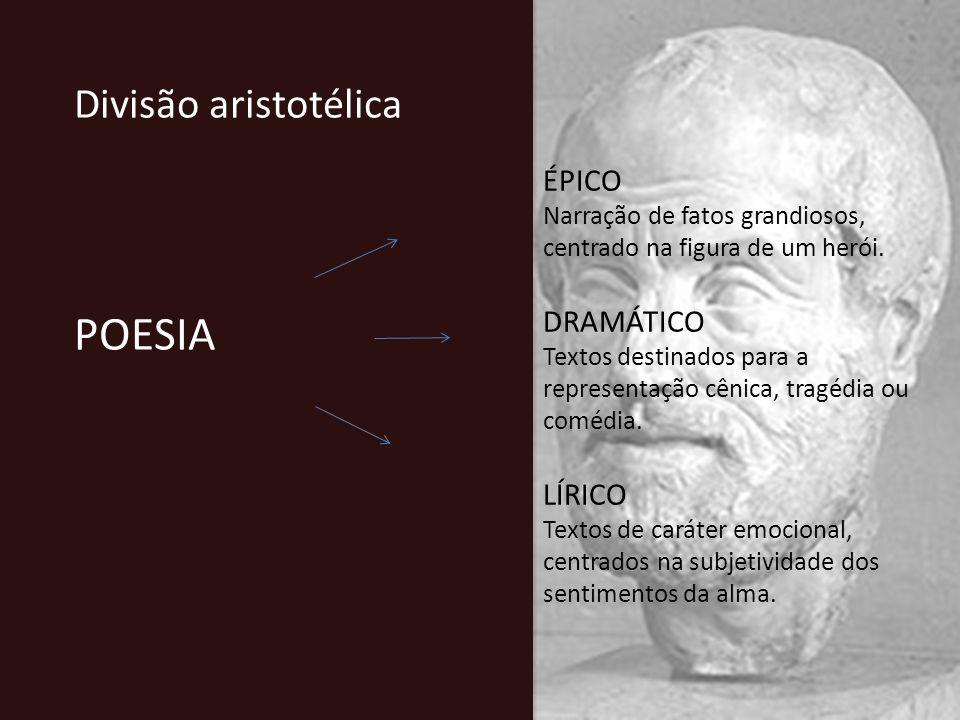 POESIA Divisão aristotélica ÉPICO DRAMÁTICO LÍRICO