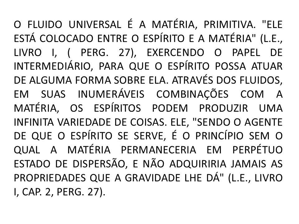 O FLUIDO UNIVERSAL É A MATÉRIA, PRIMITIVA