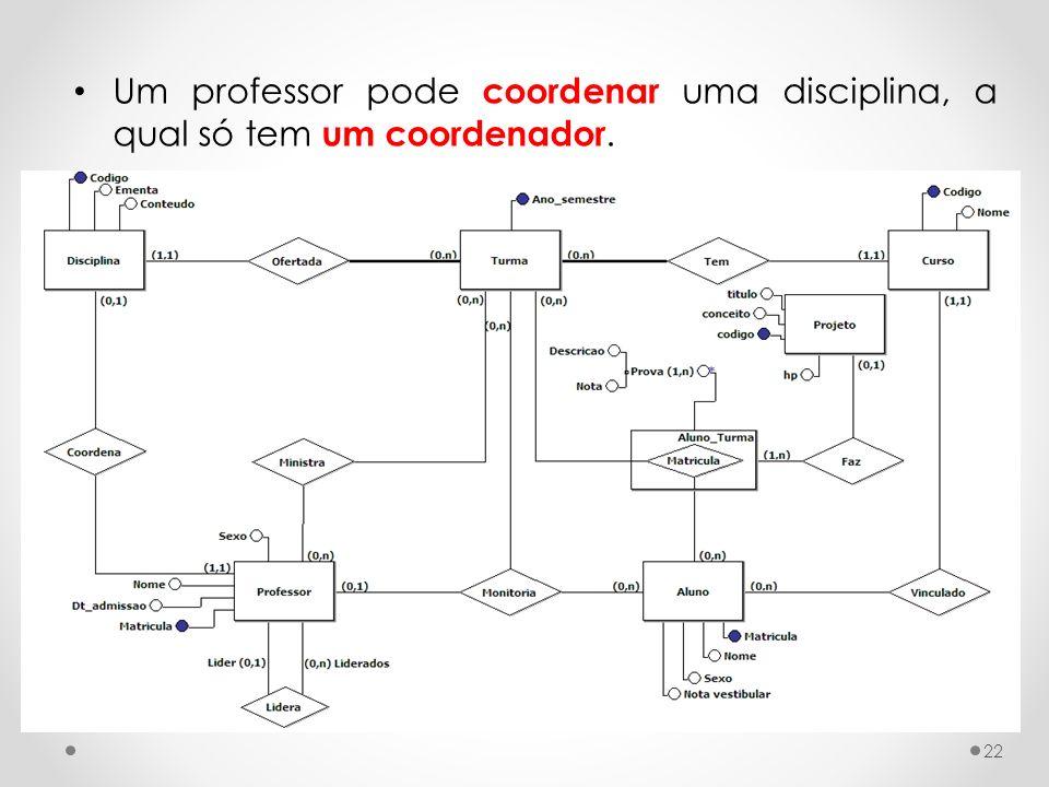 Um professor pode coordenar uma disciplina, a qual só tem um coordenador.