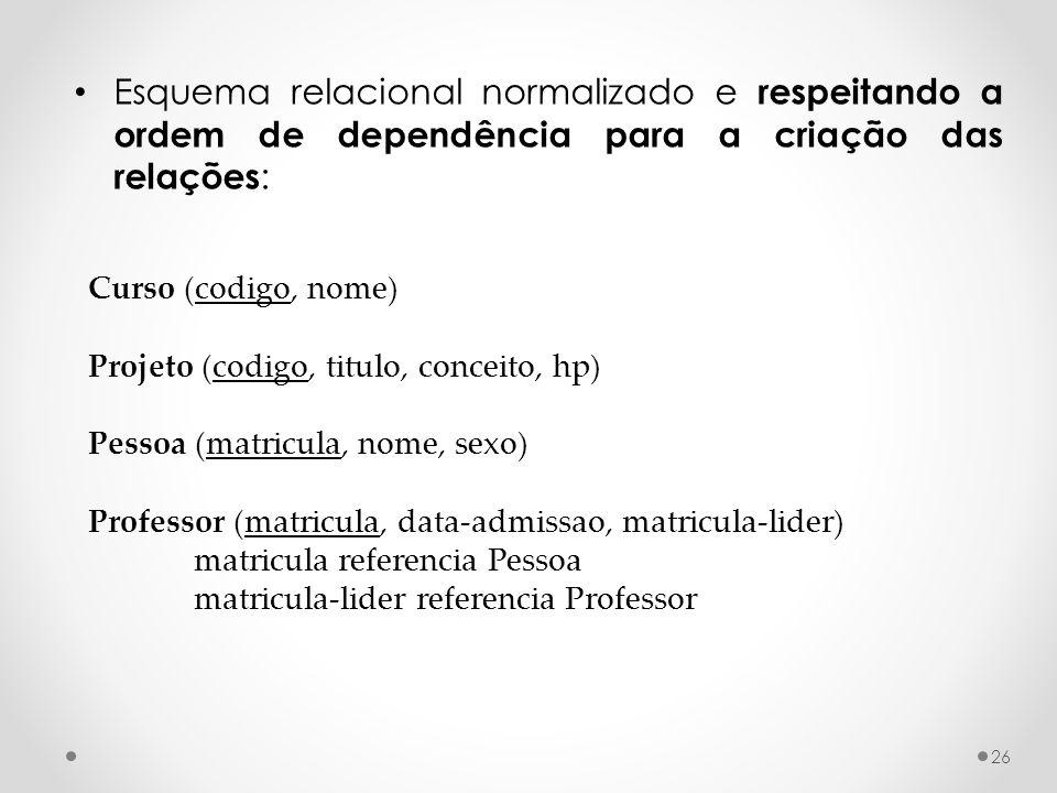 Esquema relacional normalizado e respeitando a ordem de dependência para a criação das relações: