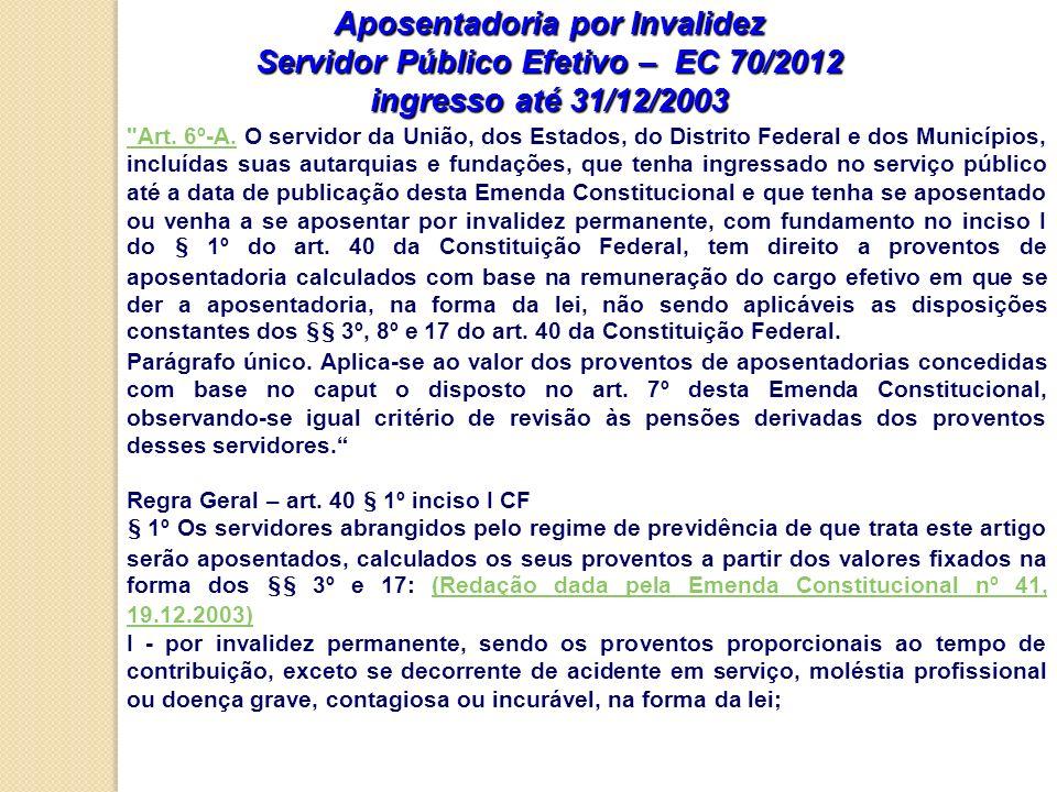 Aposentadoria por Invalidez Servidor Público Efetivo – EC 70/2012