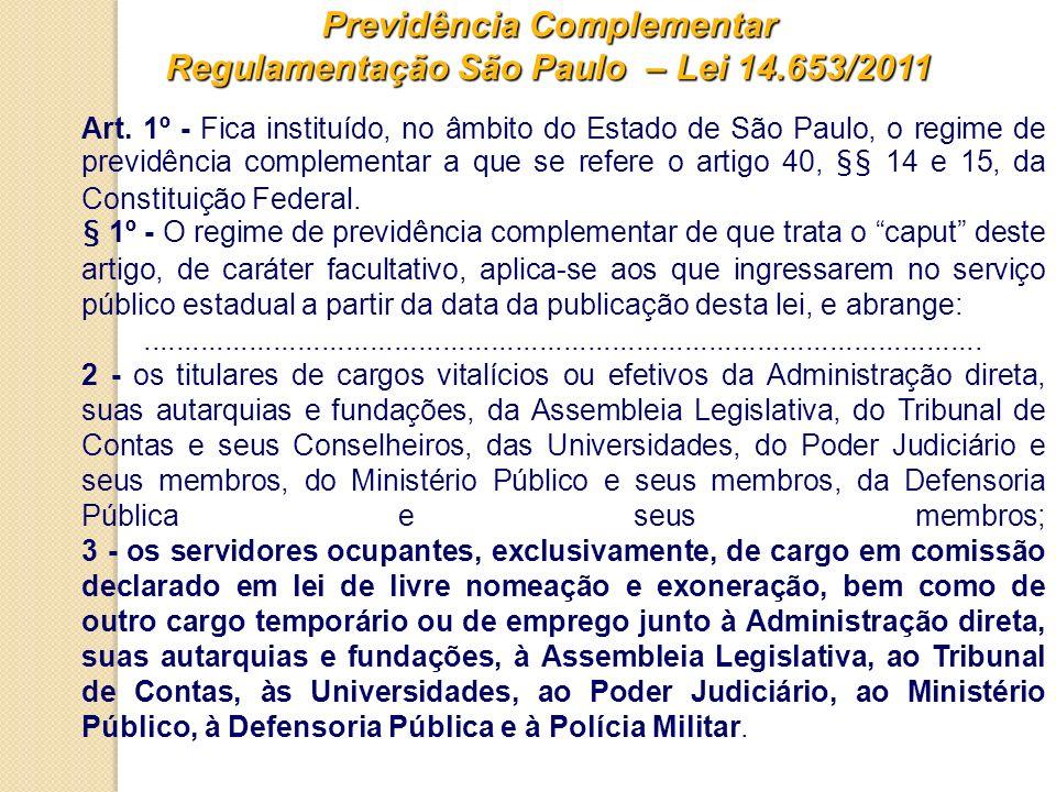 Previdência Complementar Regulamentação São Paulo – Lei 14.653/2011