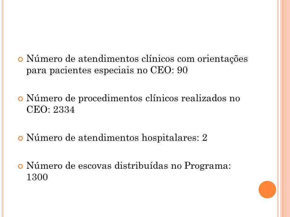 Número de atendimentos clínicos com orientações para pacientes especiais no CEO: 90