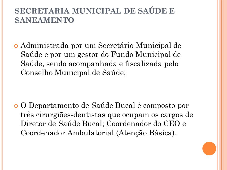 SECRETARIA MUNICIPAL DE SAÚDE E SANEAMENTO