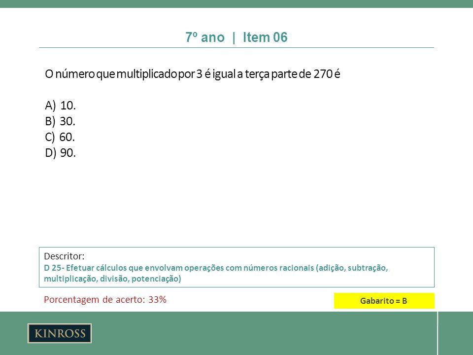 O número que multiplicado por 3 é igual a terça parte de 270 é A) 10.