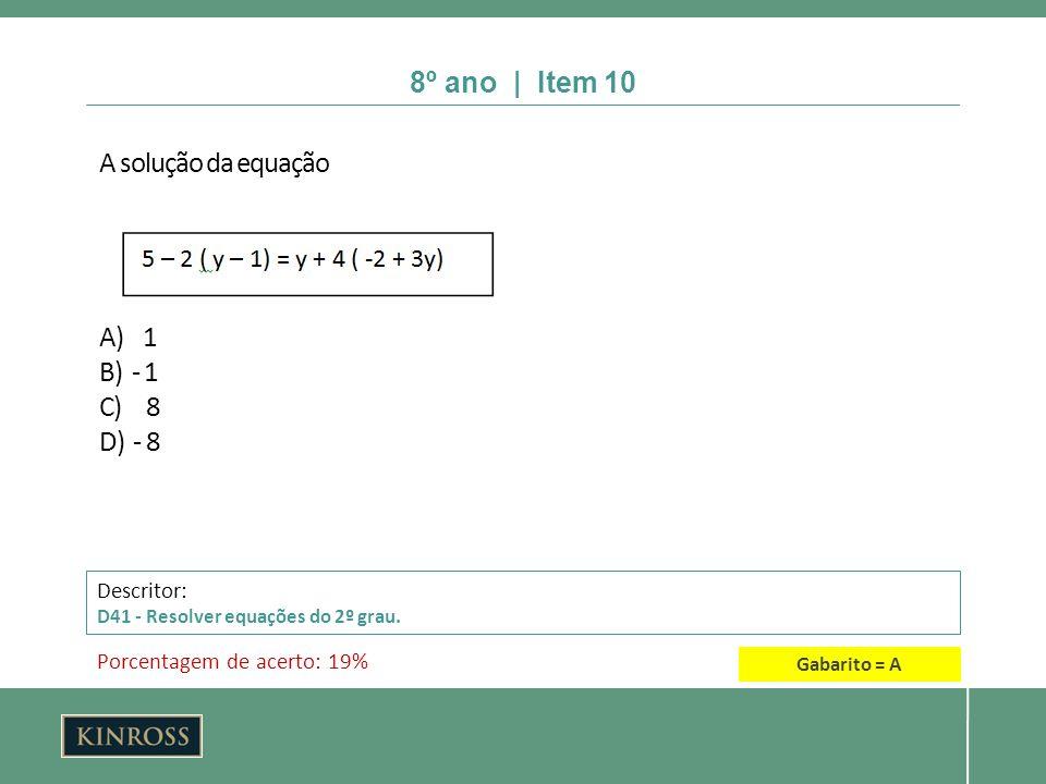 8º ano | Item 10 A solução da equação A) 1 B) - 1 C) 8 D) - 8