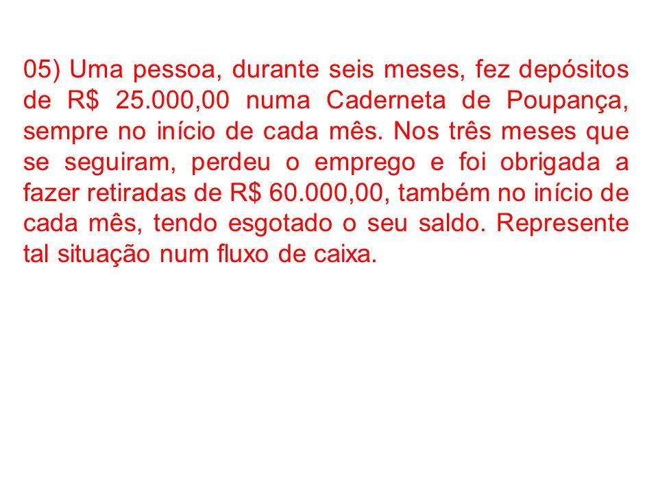 05) Uma pessoa, durante seis meses, fez depósitos de R$ 25