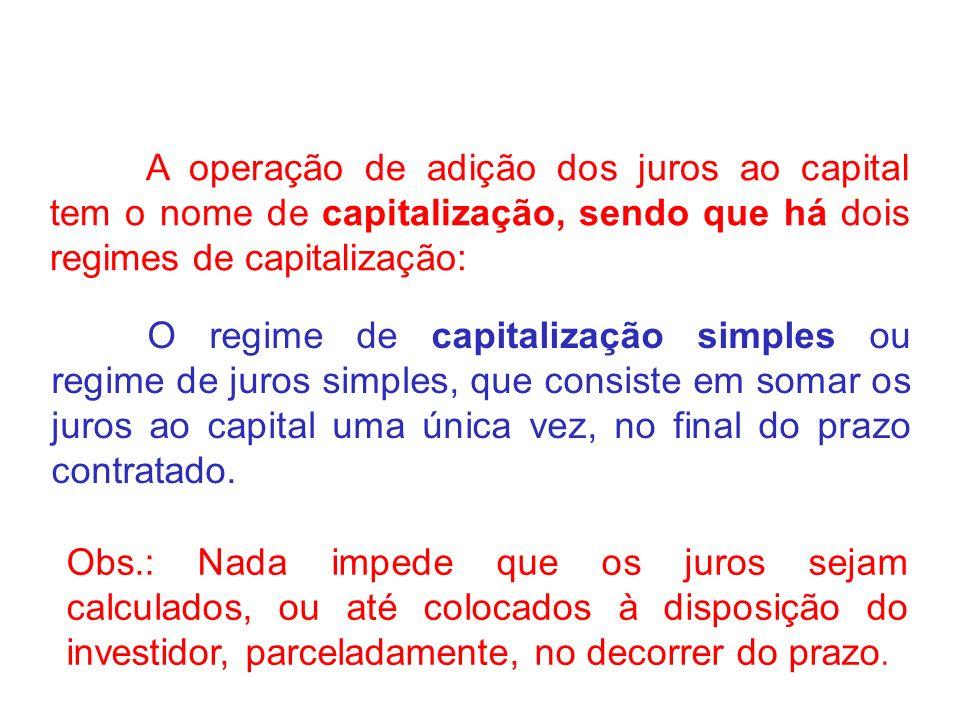 A operação de adição dos juros ao capital tem o nome de capitalização, sendo que há dois regimes de capitalização: