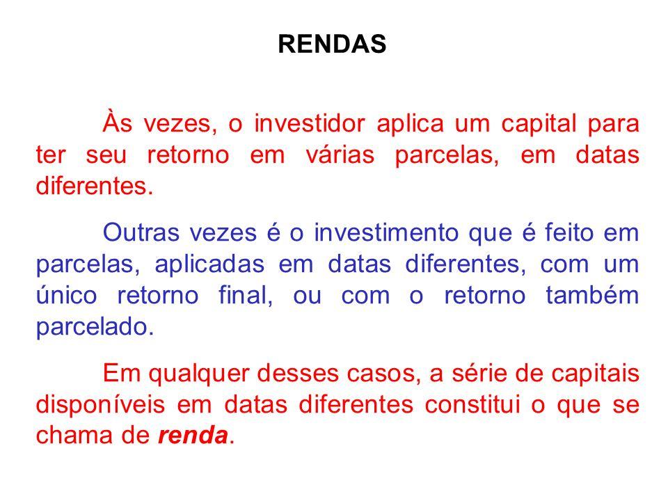 RENDAS Às vezes, o investidor aplica um capital para ter seu retorno em várias parcelas, em datas diferentes.