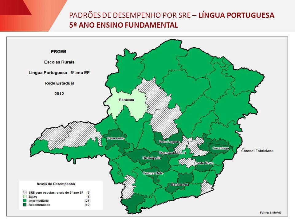 PADRÕES DE DESEMPENHO POR SRE – LÍNGUA PORTUGUESA 5º ANO ENSINO FUNDAMENTAL