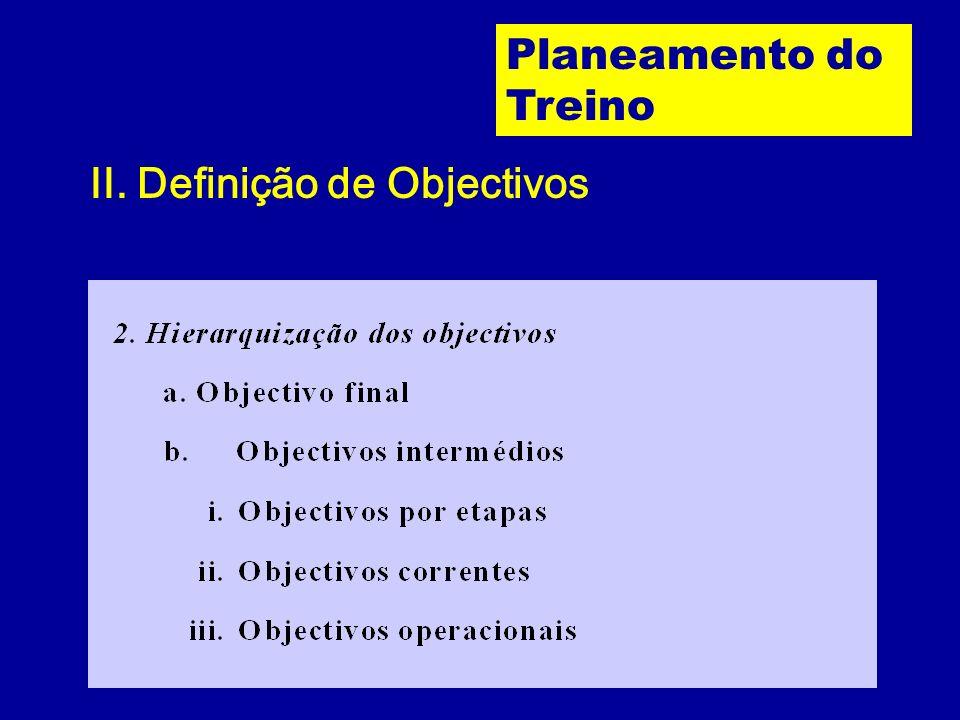 Planeamento do Treino II. Definição de Objectivos