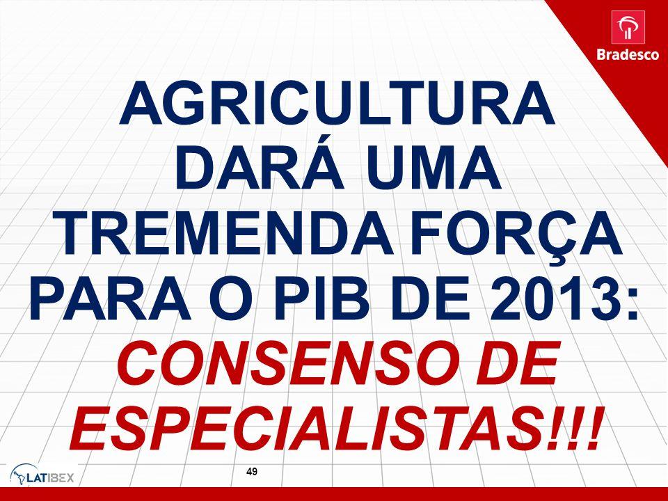 AGRICULTURA DARÁ UMA TREMENDA FORÇA PARA O PIB DE 2013: CONSENSO DE ESPECIALISTAS!!!