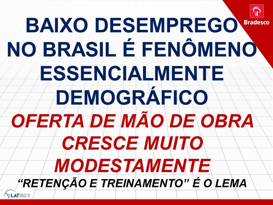 Baixo desemprego no brasil é fenômeno essencialmente demográfico oferta de mão de obra cresce muito modestamente retenção e treinamento é o lema