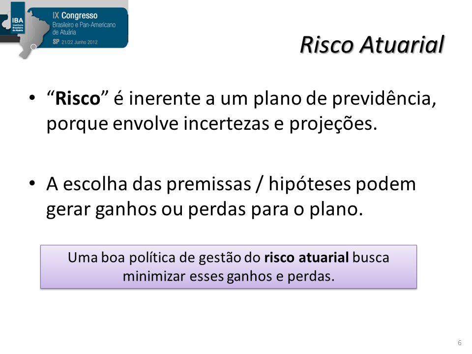 Risco Atuarial Risco é inerente a um plano de previdência, porque envolve incertezas e projeções.