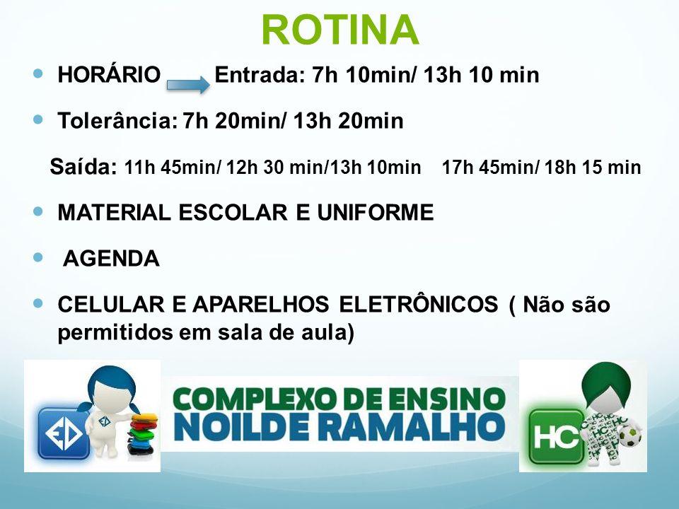ROTINA HORÁRIO Entrada: 7h 10min/ 13h 10 min