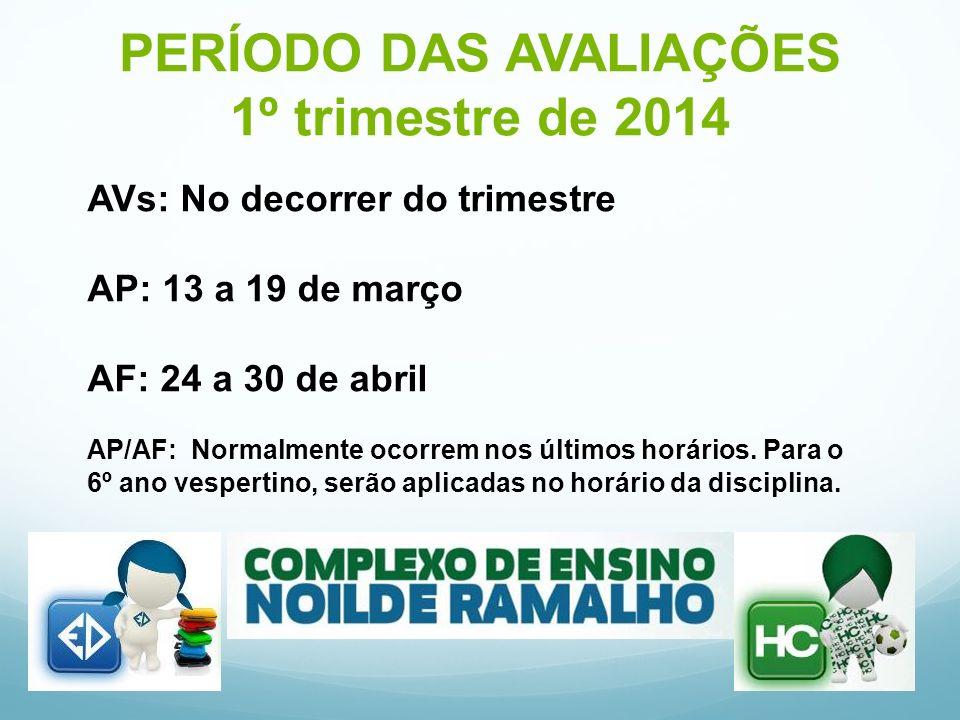 PERÍODO DAS AVALIAÇÕES 1º trimestre de 2014