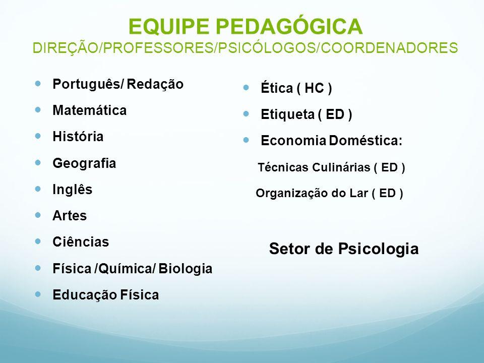 EQUIPE PEDAGÓGICA DIREÇÃO/PROFESSORES/PSICÓLOGOS/COORDENADORES