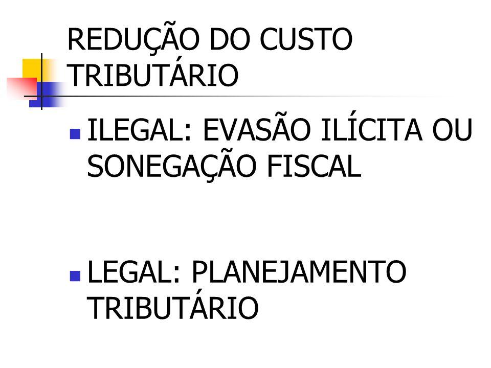 REDUÇÃO DO CUSTO TRIBUTÁRIO