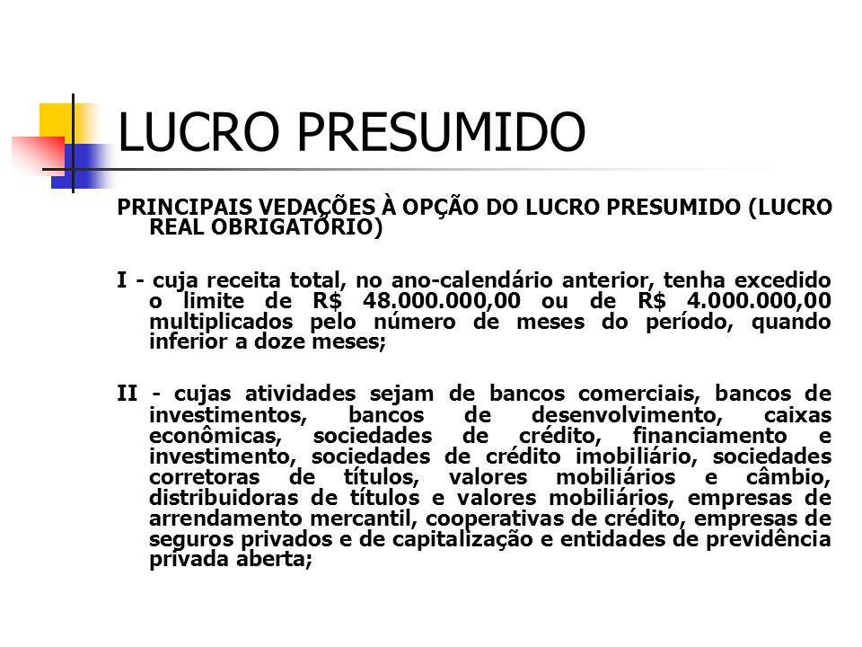 LUCRO PRESUMIDO PRINCIPAIS VEDAÇÕES À OPÇÃO DO LUCRO PRESUMIDO (LUCRO REAL OBRIGATÓRIO)