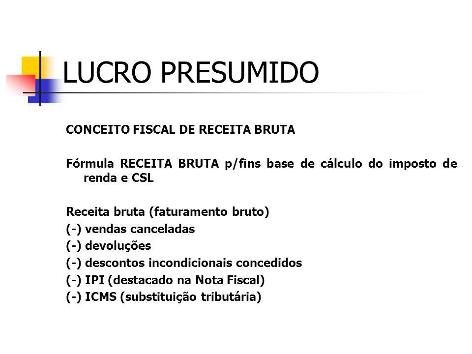 LUCRO PRESUMIDO CONCEITO FISCAL DE RECEITA BRUTA