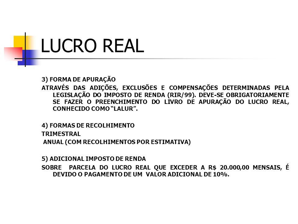 LUCRO REAL 3) FORMA DE APURAÇÃO