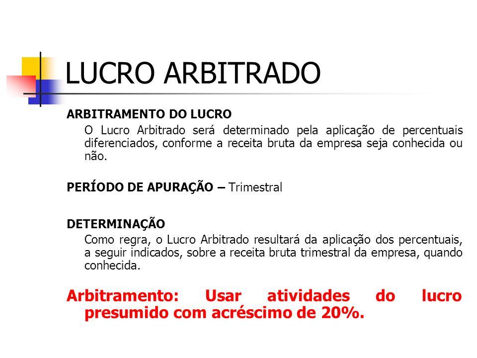 LUCRO ARBITRADO ARBITRAMENTO DO LUCRO.