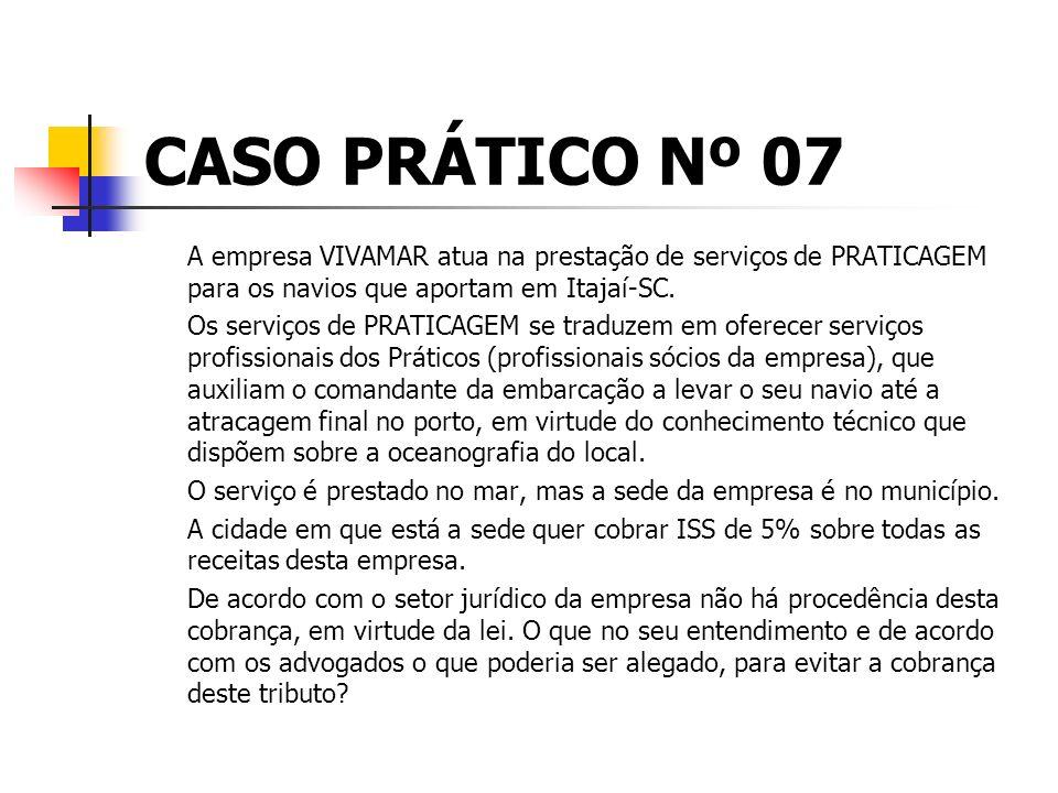 CASO PRÁTICO Nº 07 A empresa VIVAMAR atua na prestação de serviços de PRATICAGEM para os navios que aportam em Itajaí-SC.