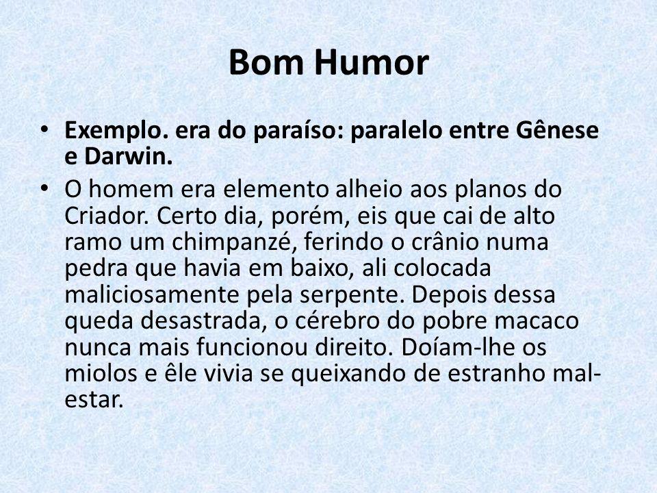 Bom Humor Exemplo. era do paraíso: paralelo entre Gênese e Darwin.
