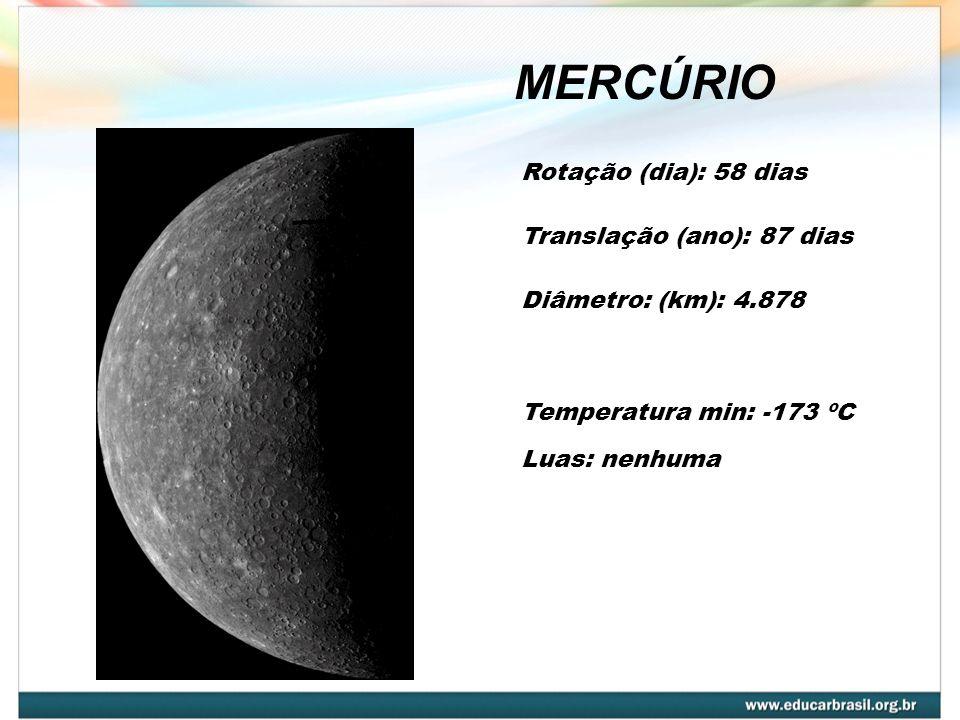MERCÚRIO Rotação (dia): 58 dias Translação (ano): 87 dias