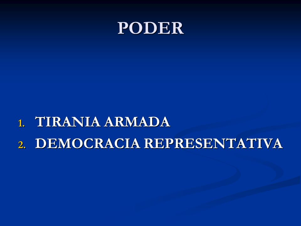 PODER TIRANIA ARMADA DEMOCRACIA REPRESENTATIVA