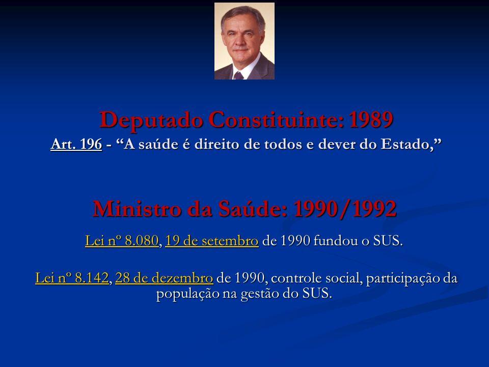 Lei nº 8.080, 19 de setembro de 1990 fundou o SUS.