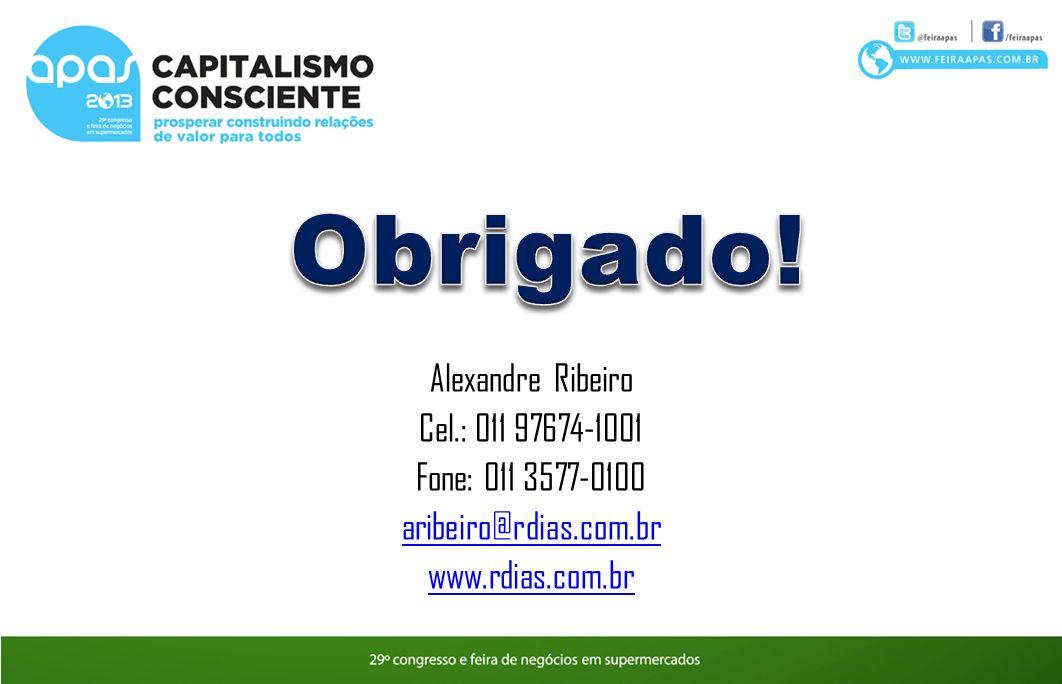 Obrigado! Alexandre Ribeiro Cel.: 011 97674-1001 Fone: 011 3577-0100
