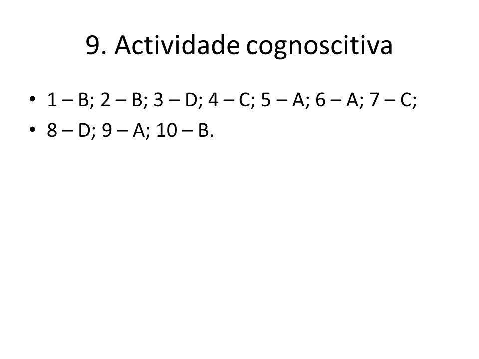 9. Actividade cognoscitiva