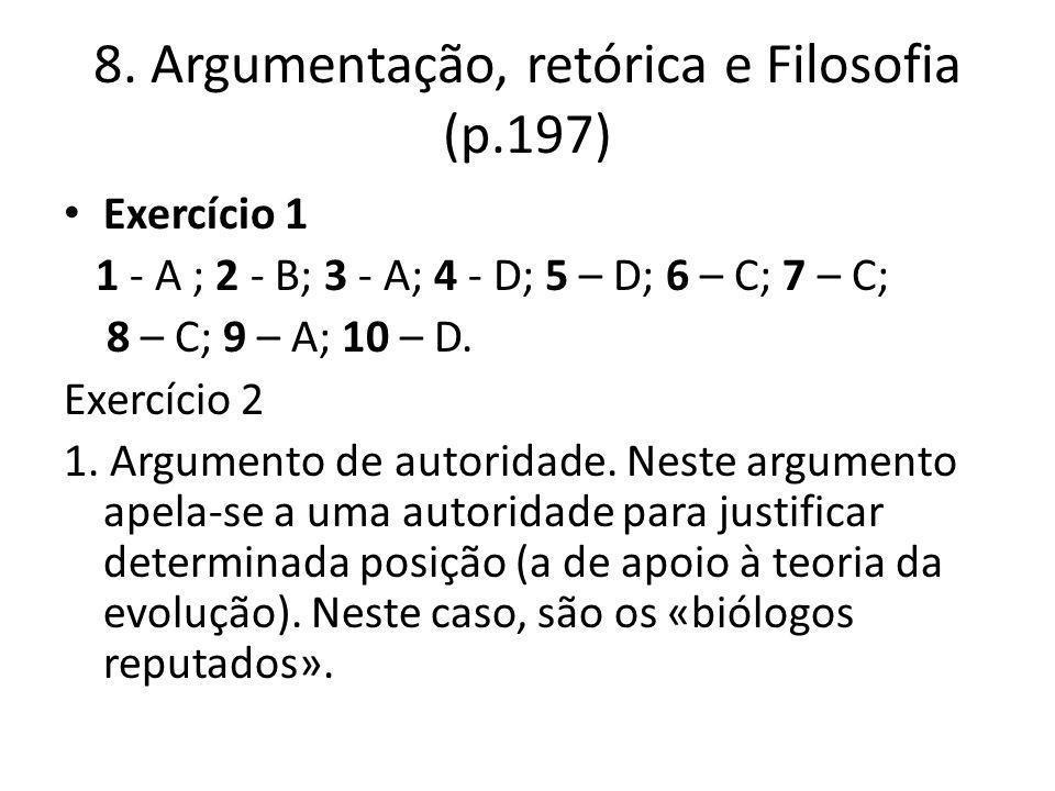 8. Argumentação, retórica e Filosofia (p.197)