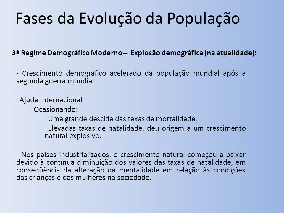Fases da Evolução da População