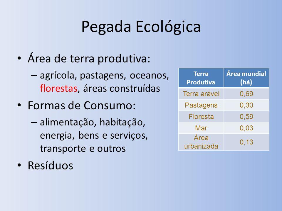 Pegada Ecológica Área de terra produtiva: Formas de Consumo: Resíduos