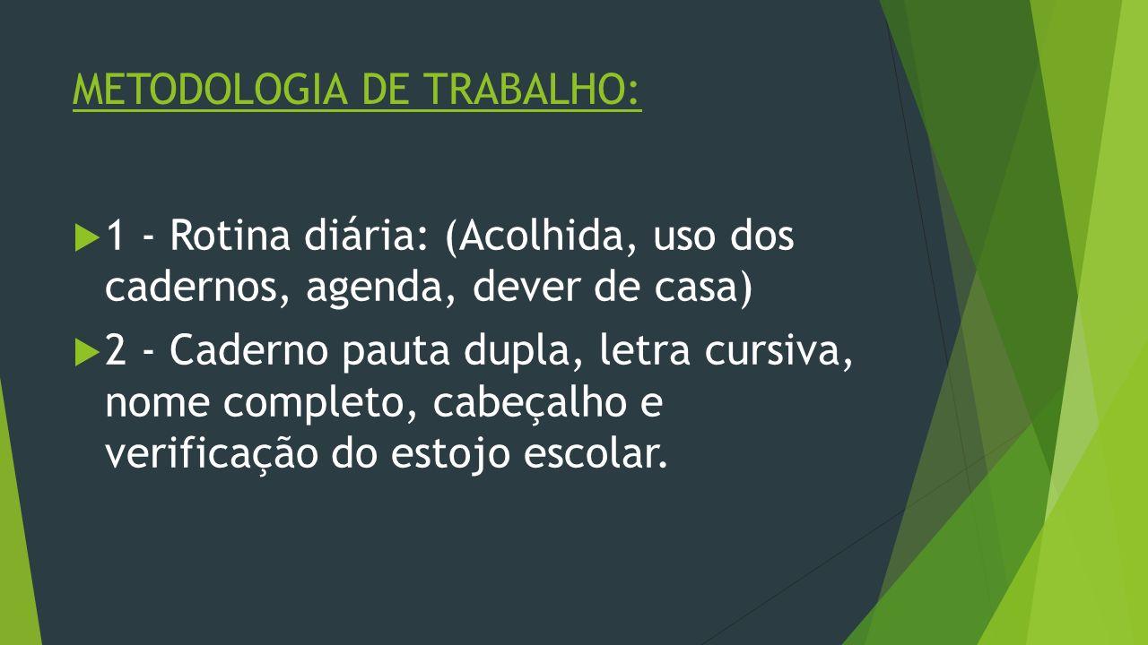 METODOLOGIA DE TRABALHO: