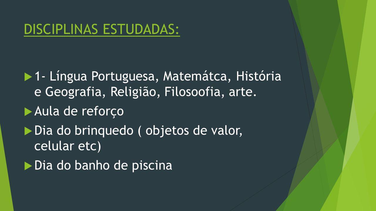 DISCIPLINAS ESTUDADAS:
