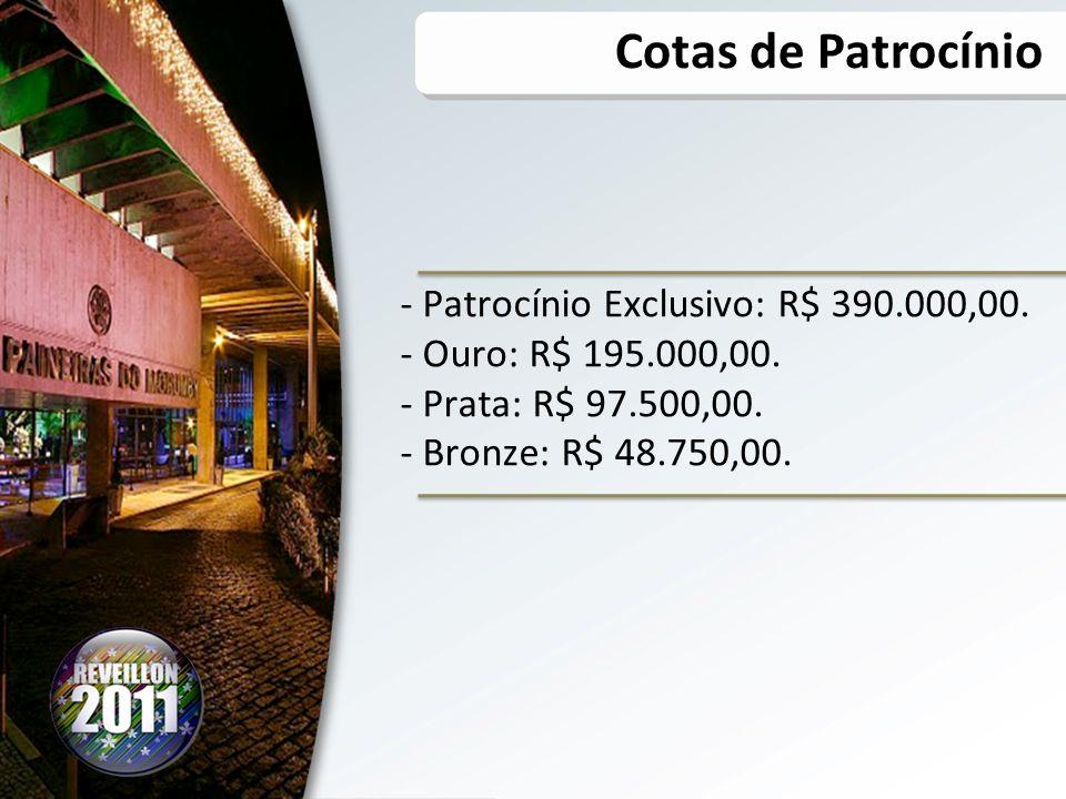 Cotas de Patrocínio Patrocínio Exclusivo: R$ 390.000,00.