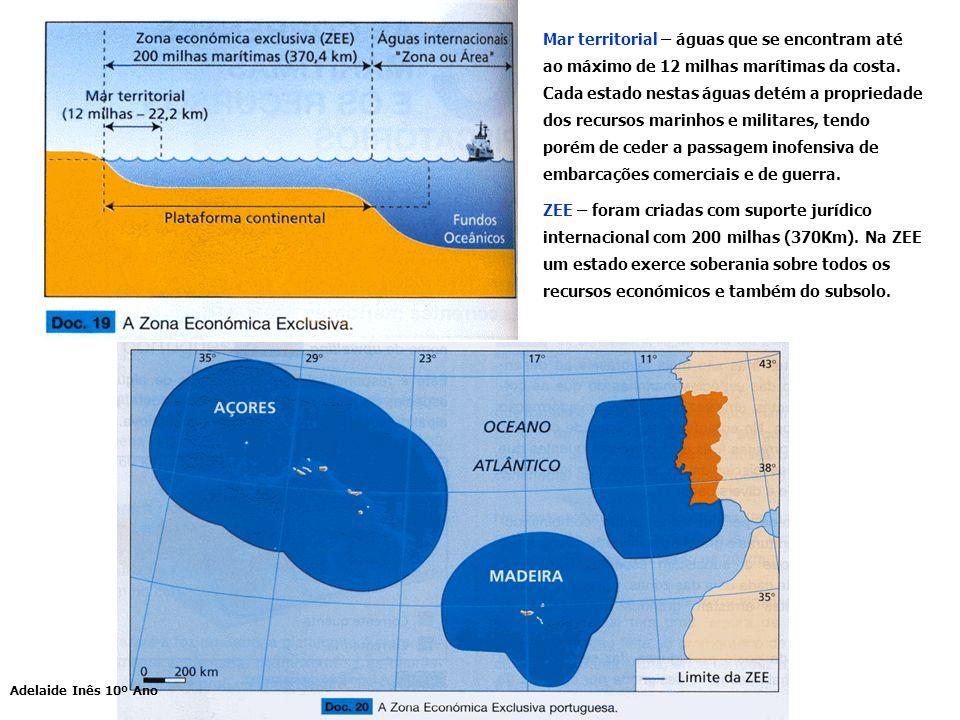 Mar territorial – águas que se encontram até ao máximo de 12 milhas marítimas da costa. Cada estado nestas águas detém a propriedade dos recursos marinhos e militares, tendo porém de ceder a passagem inofensiva de embarcações comerciais e de guerra.