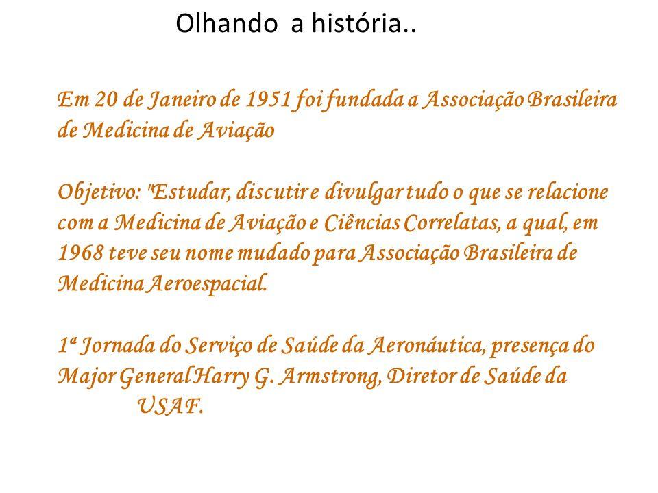 Olhando a história.. Em 20 de Janeiro de 1951 foi fundada a Associação Brasileira de Medicina de Aviação.
