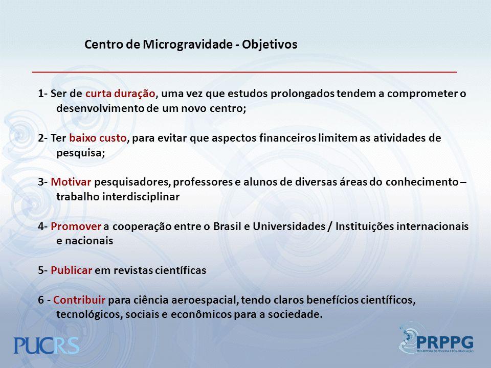 Centro de Microgravidade - Objetivos