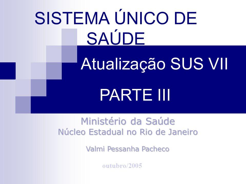 SISTEMA ÚNICO DE SAÚDE Atualização SUS VII PARTE III