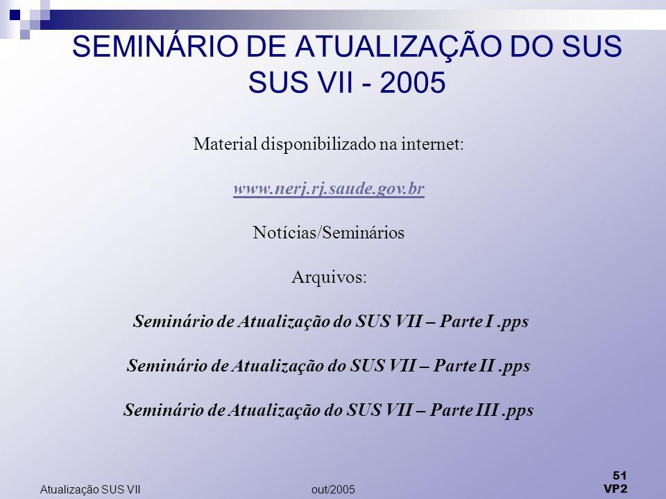 SEMINÁRIO DE ATUALIZAÇÃO DO SUS SUS VII - 2005