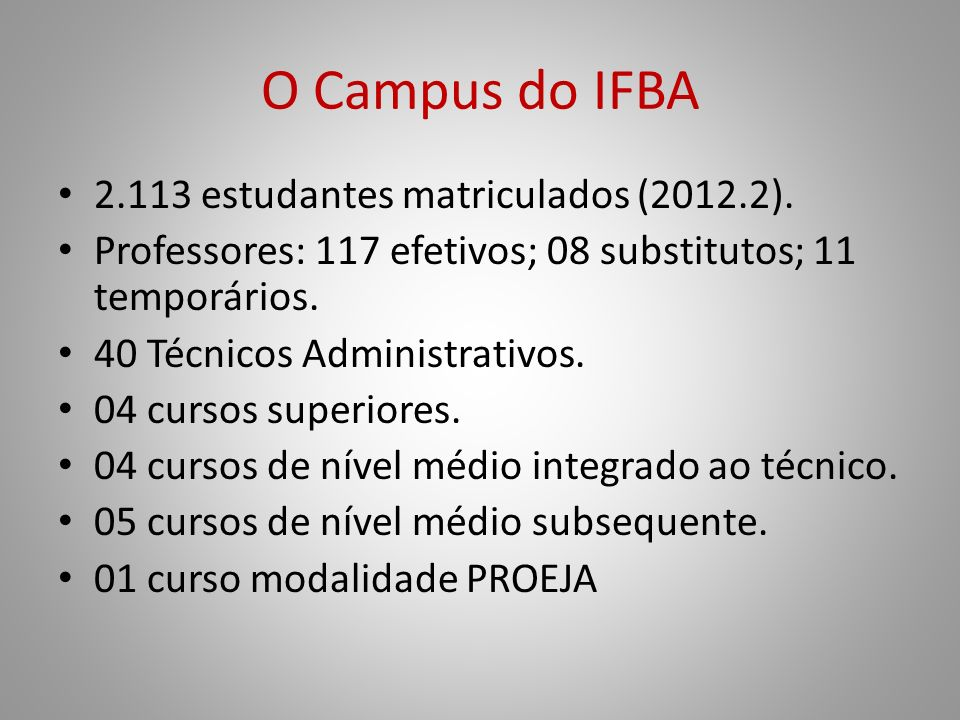 O Campus do IFBA 2.113 estudantes matriculados (2012.2).