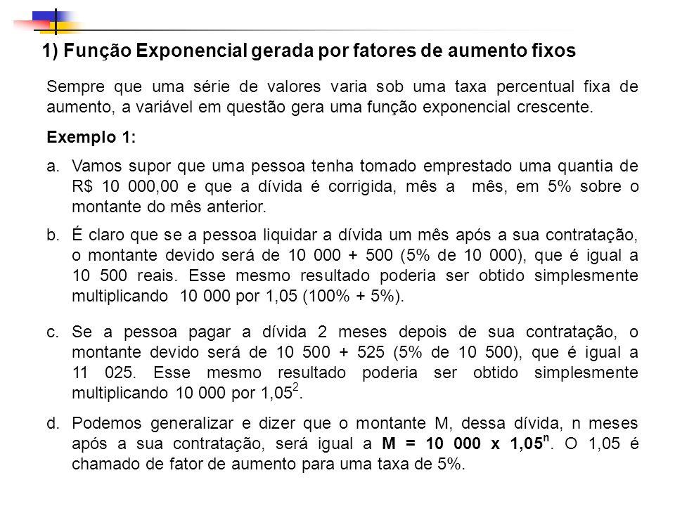 1) Função Exponencial gerada por fatores de aumento fixos