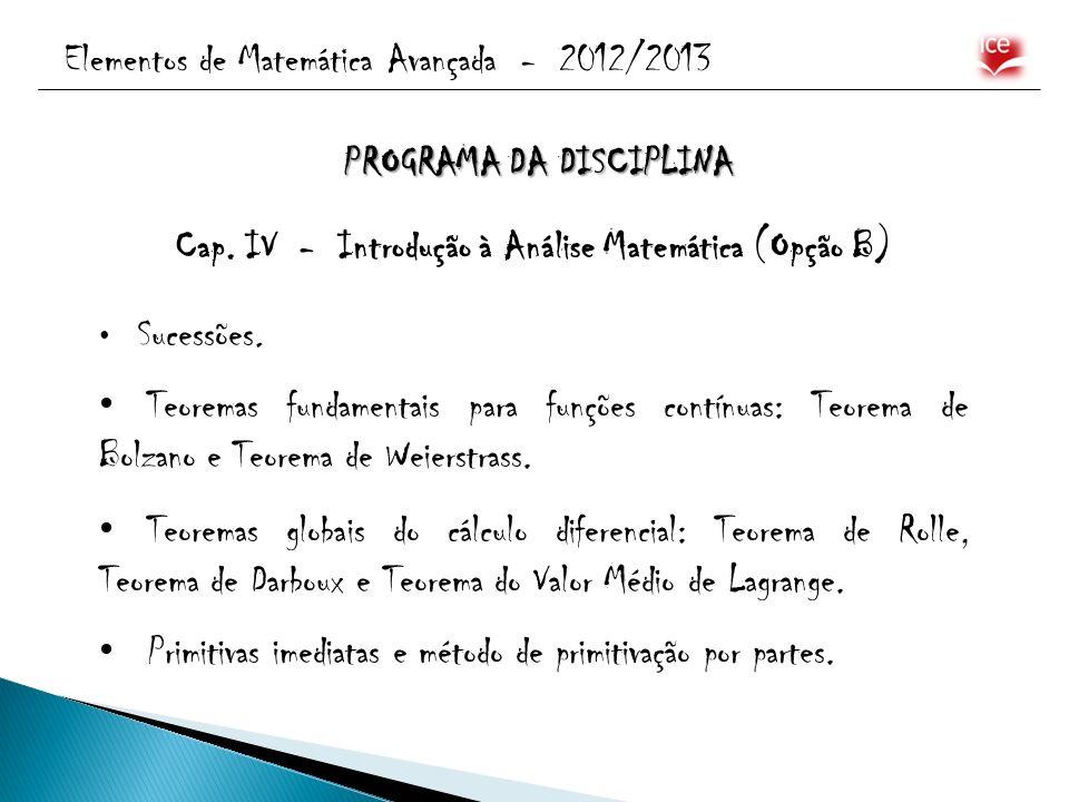 Elementos de Matemática Avançada - 2012/2013