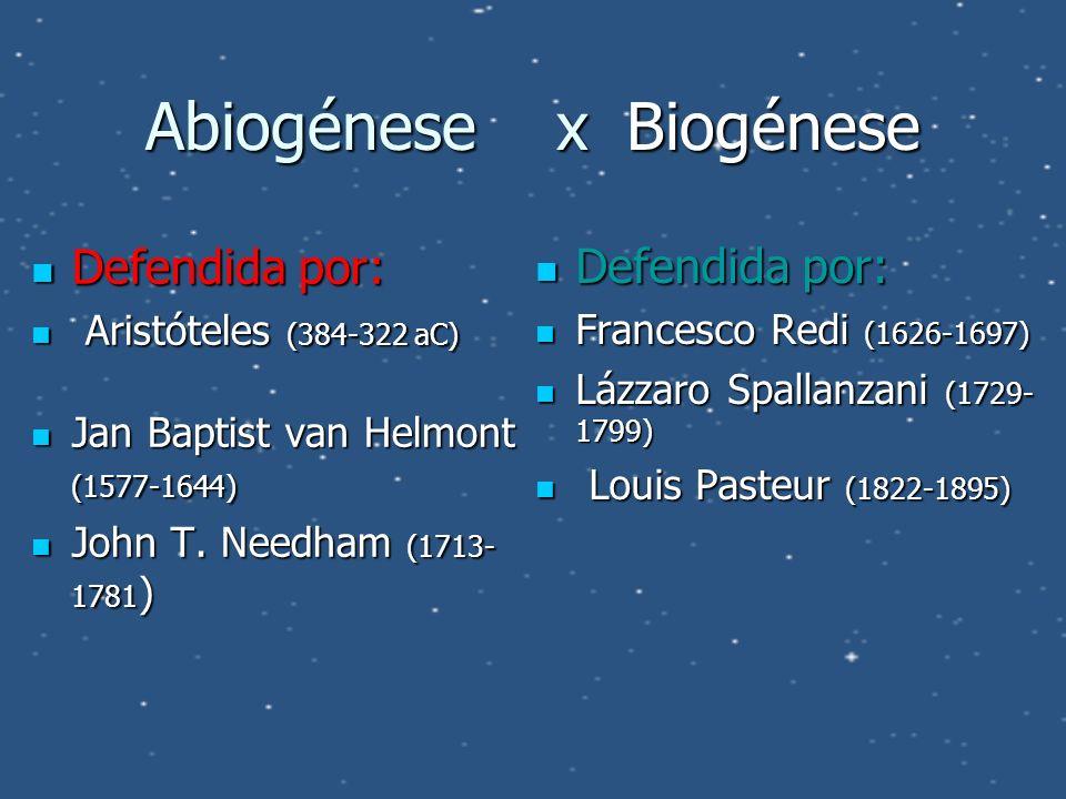 Abiogénese x Biogénese