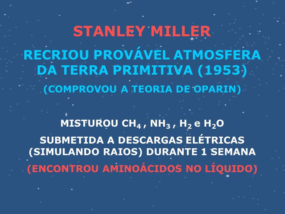 STANLEY MILLER RECRIOU PROVÁVEL ATMOSFERA DA TERRA PRIMITIVA (1953)