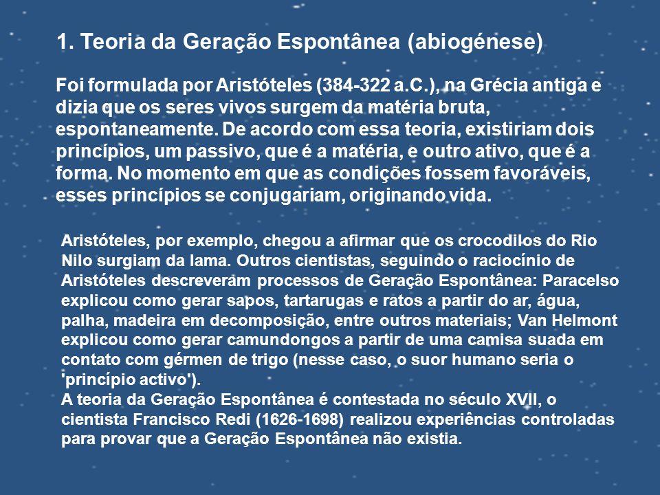 1. Teoria da Geração Espontânea (abiogénese)